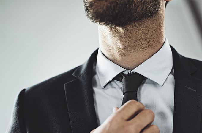 Business man with beard on chin and neck