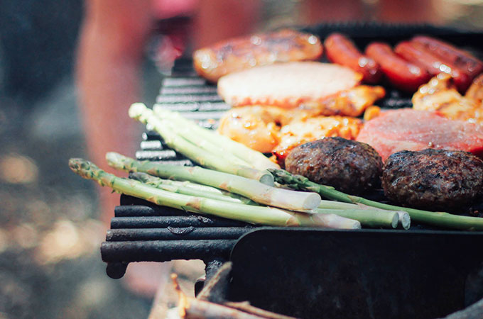 grill with skewers, shashlik, grill low-fat